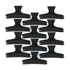 Κλάμερ μαλλιών πλαστικά 12 τεμάχια μαύρα.
