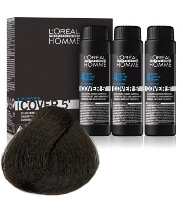 L'oreal Professionnel Homme Cover 5' 3x50ml N°4 Μεσαίο καφέ