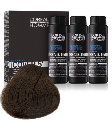 L'oreal Professionnel Homme Cover 5' 3x50ml N°5 Ανοιχτό καφέ