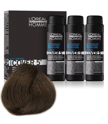 L'oreal Professionnel Homme Cover 5' 3x50ml N°6 Σκούρο ξανθό